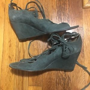 8b985c0beae6 J. Crew Shoes - J. Crew Suede Green Lace up Wedges 8